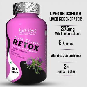naturyz retox 375mg milk thistle extract