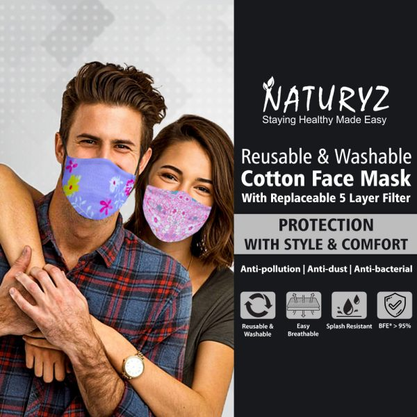 cotton face mask with replaceable 5 layer filter