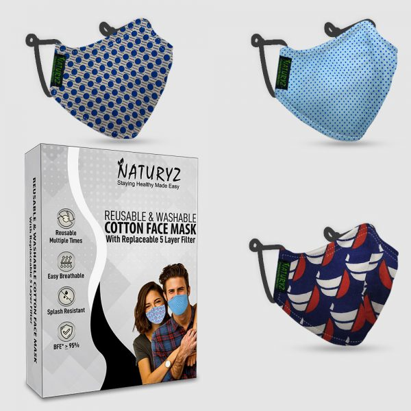 naturyz cotton face mask with replaceable 5 layer filter