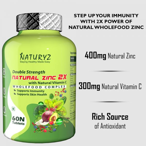 double strength natural zinc 2X with natural vitamin c
