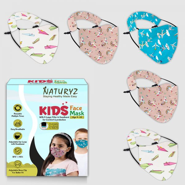 naturyz kids face mask pack of 5 age group of 9-14 years