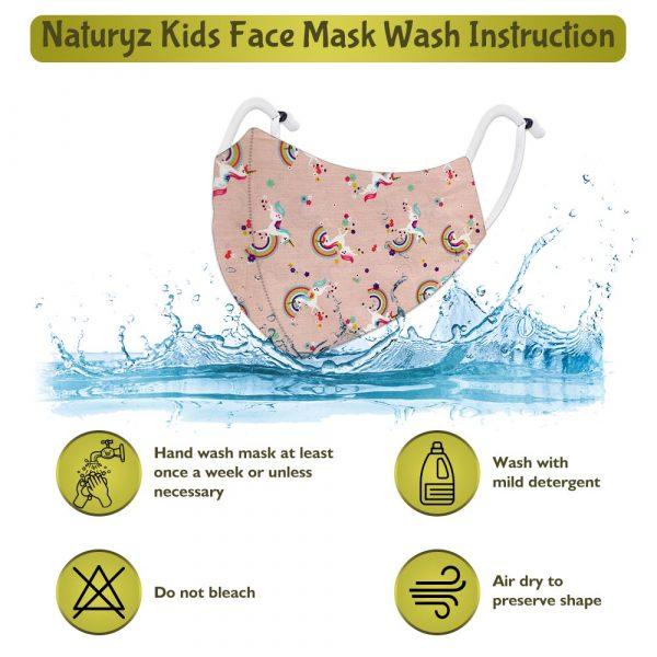 printed naturyz kids face mask wash instruction