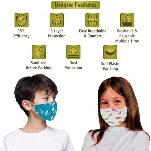 multicoloured N95 face mask with 6 layer filter for men and women