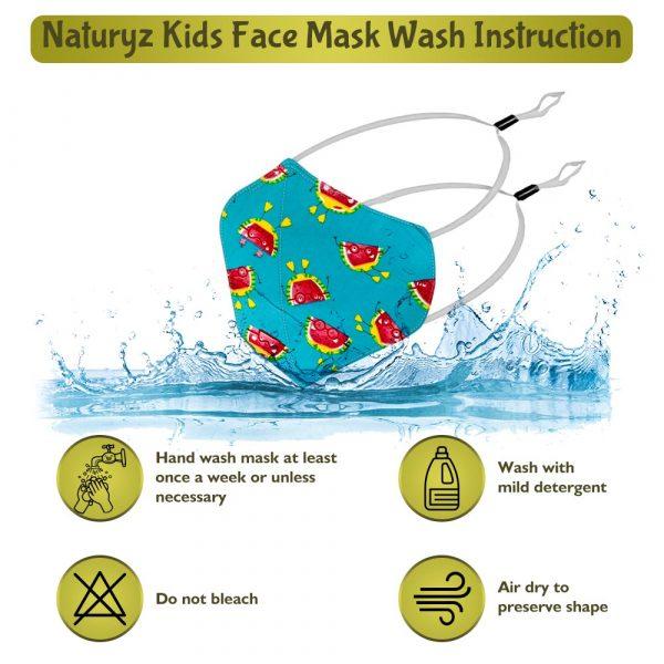 naturyz kids face mask wash instruction